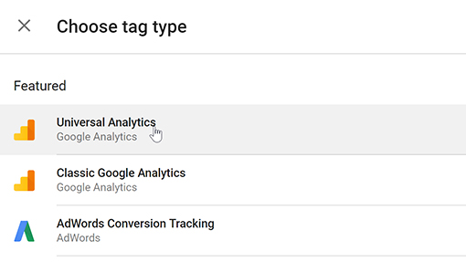 Create a new tag for Universal Analytics in Google Tag Manager