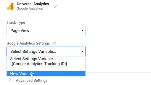Creating a new variable to set up Google Analytics using Google Tag Manager