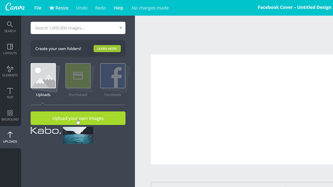 Screenshot showing how to upload your own images in to Canva