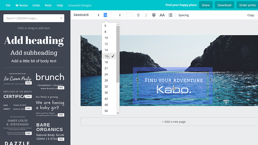 Screenshot showing how to add text and your logo to Canva for a Facebook cover image