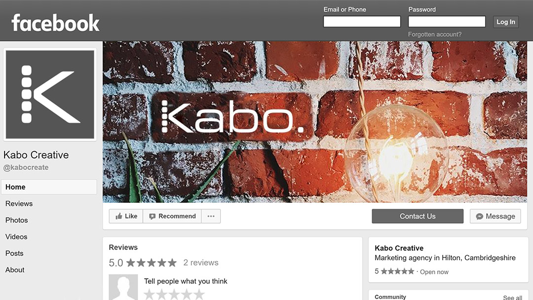 Screenshot of the Kabo Creative Facebook page showing a free cover image