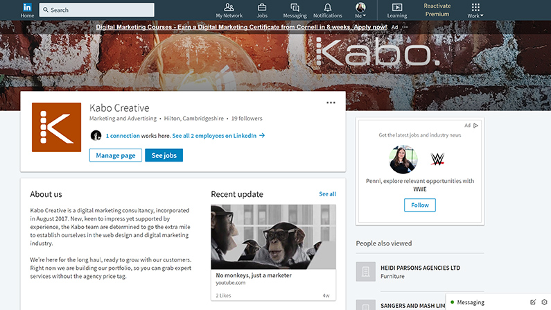 Screenshot of a custom designed header image for LinkedIn company pages