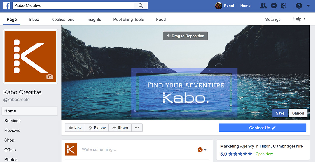 Example image created in Canva displayed as Kabo Creative's Facebook cover photo
