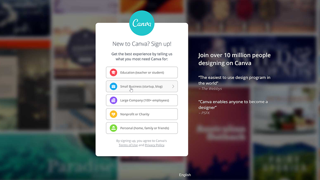 Screenshot showing the sign up process to Canva