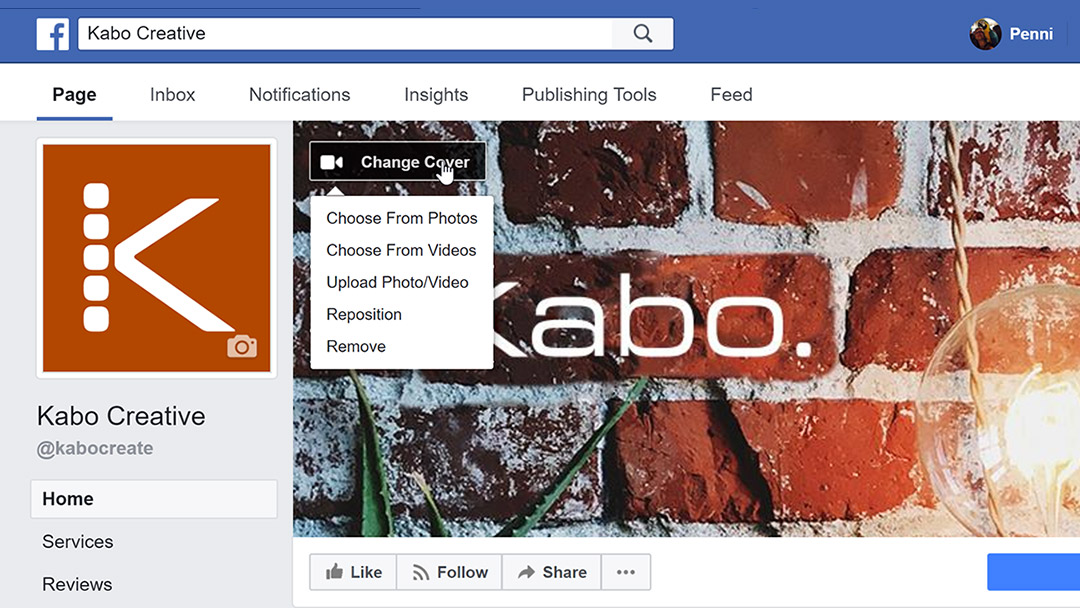 Screenshot showing how to upload your custom designed cover photo to Facebook business pages