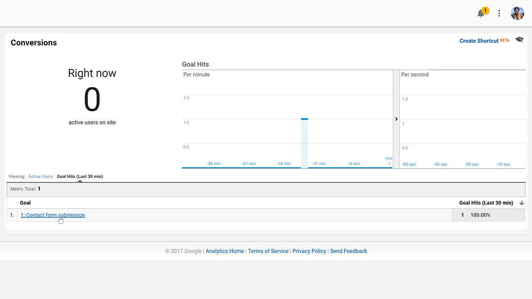 Contact form goal showing in Google Analytics real time conversion reporting