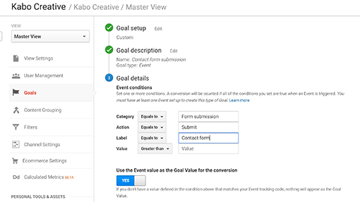 Goal setup in Google Analytics using events