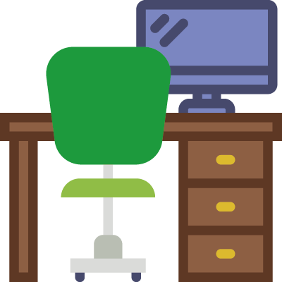 Icon of a computer at a workstation representing blogging on the topic of customer pain points to increase relevant traffic to a website