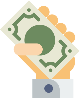 Icon of hand holding money representing target customers