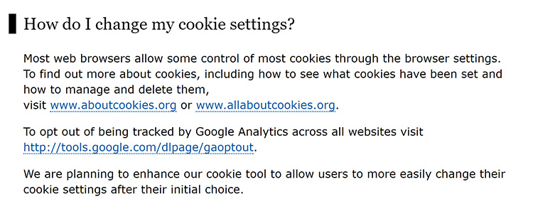 Screenshot of the ICO's cookie policy