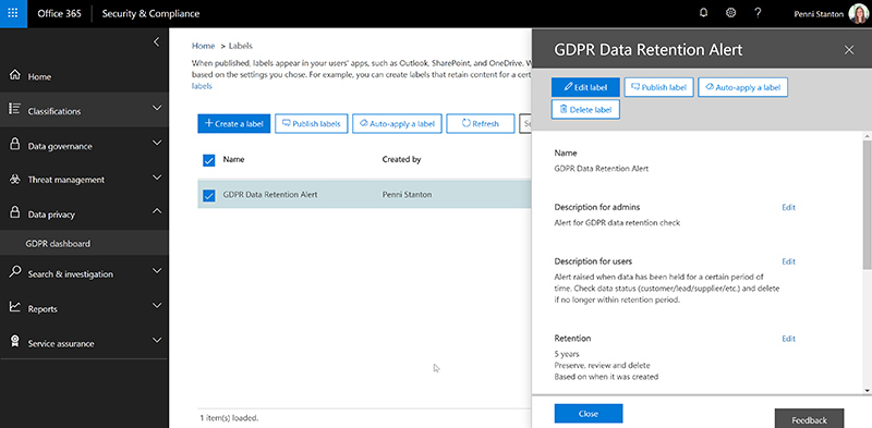 Screenshot showing Office 365's data retention alert