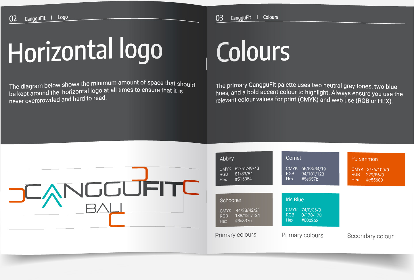 Brand guidelines booklet for CangguFit showing logo usage and spacing, colour and font specification, designed by Kabo Creative