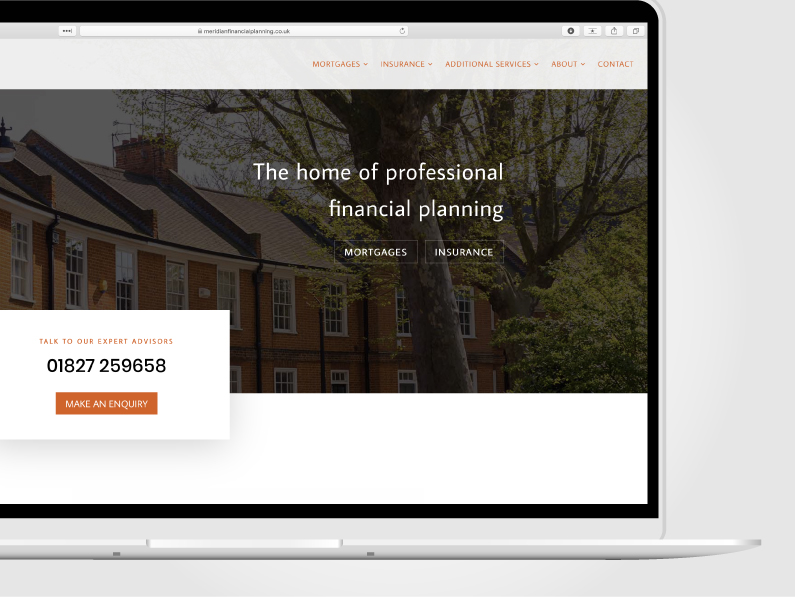 Laptop showing the home page of a financial planning business designed by Kabo Creative