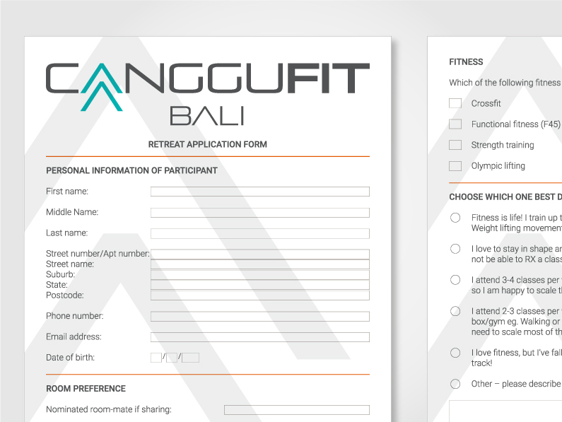 PDF for CangguFit particpants including fillable form boxes and e-signature designed by Kabo Creative