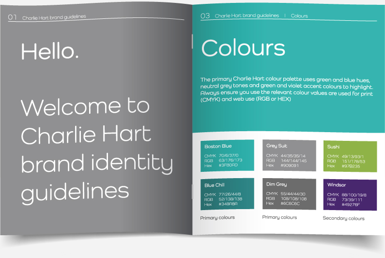 Brand guidelines for Charlie Hart Fitness showing introductory page, fonts and colour specifications, designed by Kabo Creative