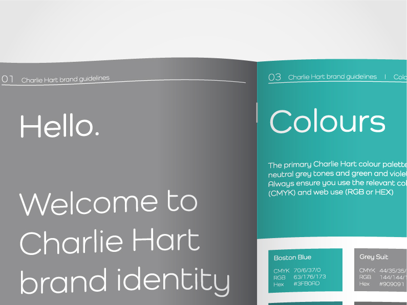 Screenshot of Charlie Hart Fitness brand guidelines showing fonts, colours and logo