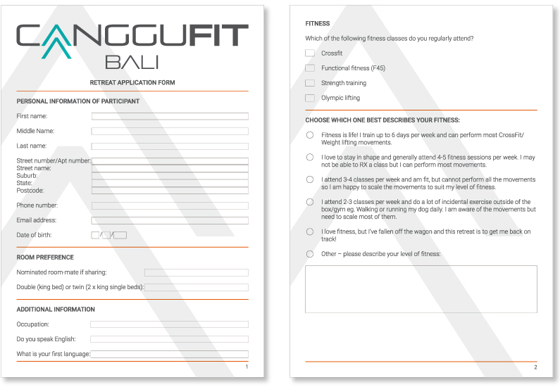 PDF design for CangguFit retreat participants with fillable form fields and e-signature designed by Kabo Creative