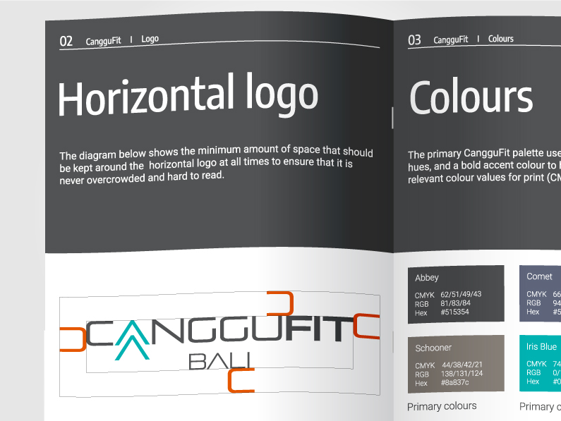 Brand guidelines booklet for CangguFit showing logo, font and colour usage designed by Kabo Creative