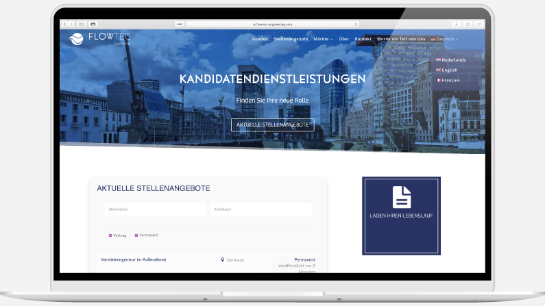 Laptop showing a multinational recruitment website with job search in German language designed by Kabo Creative