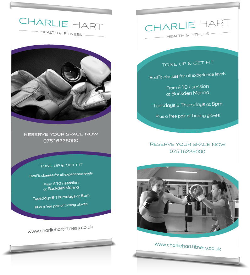 Pop up banners designed by Kabo Creative for Charlie Hart Fitness