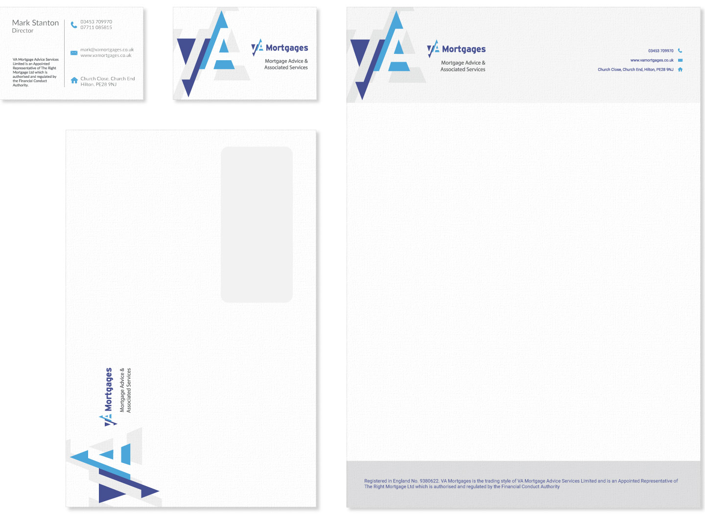 VA Mortgages stationary including business cards, letterhead and envelope designed by Kabo Creative
