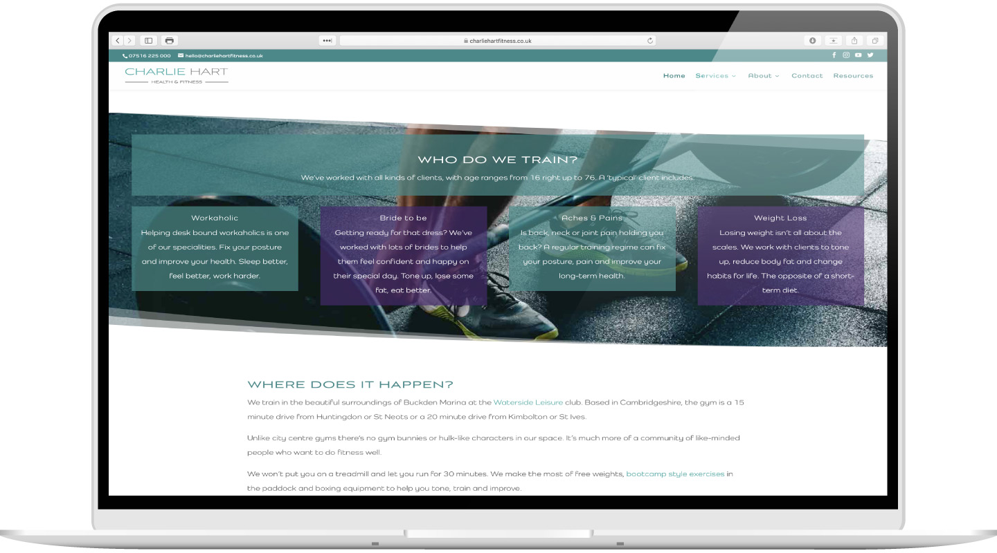 Laptop showing website design and copywriting services for Charlie Hart Fitness by Kabo Creative