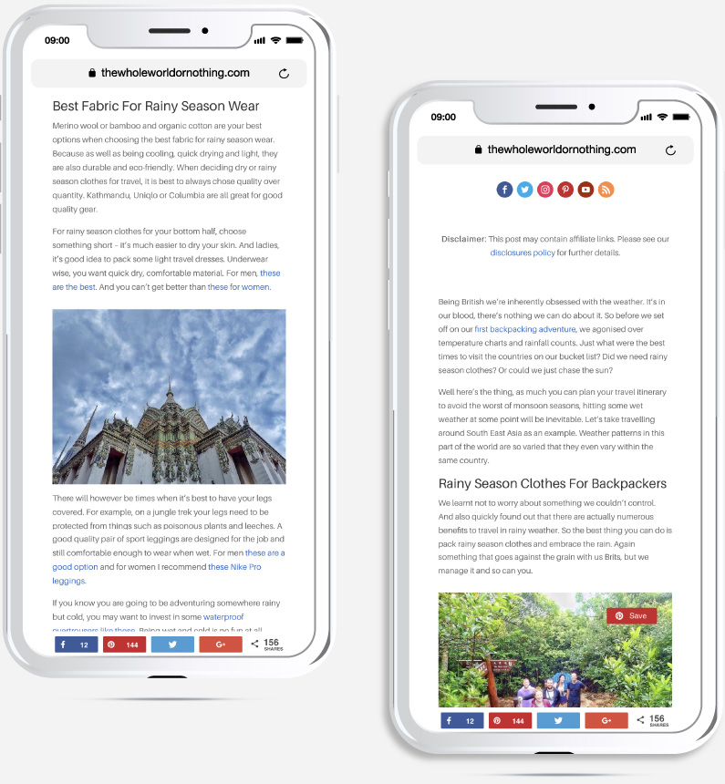 Mobile devices showing a custom blog template for The Whole World or Nothing's blog including social media links, affiliate disclaimer, next posts, social bottom bar and custom featured image with post title and meta designed by Kabo Creative